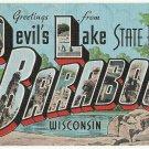 DEVIL'S LAKE BARABOO, Wisconsin large letter linen postcard Kropp