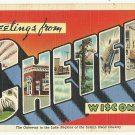CHETEK, Wisconsin large letter linen postcard Teich