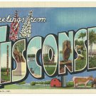 WISCONSIN large letter linen postcard Teich