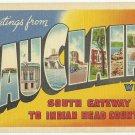 EAU CLAIRE, Wisconsin large letter linen postcard Teich