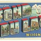 FOND DU LAC, Wisconsin large letter linen postcard Teich