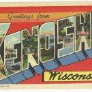 KENOSHA, Wisconsin large letter linen postcard Teich