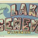 LAKE GENEVA, Wisconsin large letter linen postcard Teich