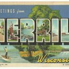 MERRILL, Wisconsin large letter linen postcard Teich