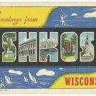 OSHKOSH, Wisconsin large letter linen postcard Teich
