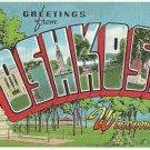OSHKOSH, Wisconsin large letter linen postcard Kropp
