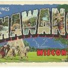 SHAWANO, Wisconsin large letter linen postcard Teich