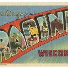 RACINE, Wisconsin large letter linen postcard Teich