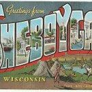 SHEBOYGAN, Wisconsin large letter linen postcard Kropp