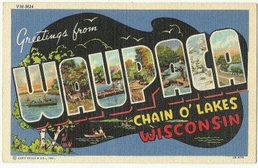 WAUPACA, Wisconsin large letter linen postcard Teich