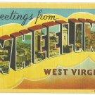 WHEELING, West Virginia large letter linen postcard Dexter