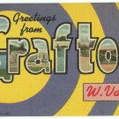 GRAFTON, West Virginia large letter linen postcard Teich