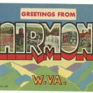 FAIRMONT, West Virginia large letter linen postcard Teich