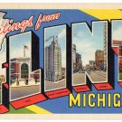 FLINT, Michigan large letter linen postcard Teich