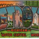 DETROIT, Michigan large letter linen postcard Metropolitan