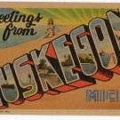 MUSKEGON, Michigan large letter linen postcard Teich