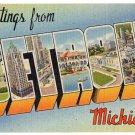 DETROIT, Michigan large letter linen postcard Tichnor