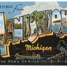 MANISTIQUE, Michigan large letter linen postcard Kropp