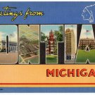 PONTIAC, Michigan large letter linen postcard Teich