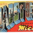 GLADSTONE, Michigan large letter linen postcard Teich