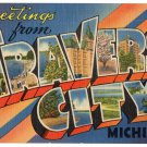 TRANVERSE CITY, Michigan large letter postcard Tichnor