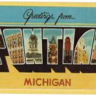 PONTIAC, Michigan large letter linen postcard Dexter