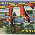 ELY, Minnesota large letter linen postcard Teich