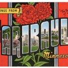 FARIBAULT, Minnesota large letter linen postcard Kropp