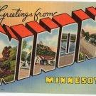 WINONA, Minnesota large letter linen postcard Teich