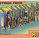 ALEXANDRIA, Minnesota large letter linen postcard Teich
