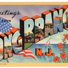 LONG BRANCH, New Jersey large letter linen postcard Teich