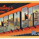 OCEAN CITY, New Jersey large letter linen postcard Teich