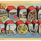 OCEAN GROVE, New Jersey large letter linen postcard Teich
