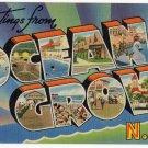 OCEAN GROVE, New Jersey large letter linen postcard Tichnor