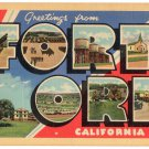 FORT ORD, California large letter linen postcard Teich