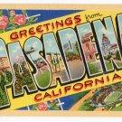 PASADENA, California large letter linen postcard Teich