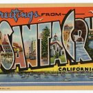 SANTA CRUZ, California large letter linen postcard Teich