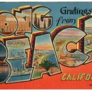 LONG BEACH, California large letter linen postcard Metropolitan