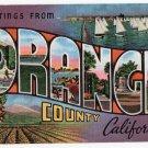 ORANGE COUNTY, California large letter linen postcard Kropp