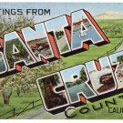 SANTA CRUZ COUNTY, California large letter linen postcard Kropp