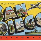 SAN DIEGO, California large letter linen postcard Kropp