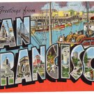SAN FRANCISCO, California large letter linen postcard Kropp