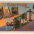 SAN DIEGO, California large letter linen postcard Metropolitan