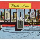 LONG BEACH, California large letter linen postcard Kropp