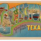 GALVESTON, Texas large letter linen postcard Metropolitan