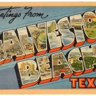 GALVESTON BEACH, Texas large letter linen postcard Tichnor