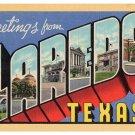 LAREDO, Texas large letter linen postcard Teich