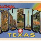 HOUSTON, Texas large letter linen postcard Teich