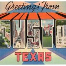 HOUSTON, Texas large letter linen postcard Tichnor