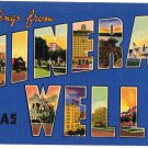MINERAL WELLS, Texas large letter linen postcard Colourpicture